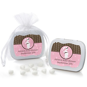 Mommy-To-Be Silhouette – It's A Girl - Personalized Baby Shower Mint Tin Favors