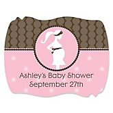 Mommy Silhouette It's A Girl - Personalized Baby Shower Squiggle Stickers - 16 ct