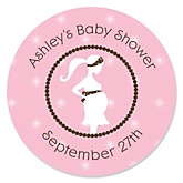 Mommy Silhouette It's A Girl - Personalized Baby Shower Round Sticker Labels - 24 Count