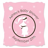 Mommy Silhouette It's A Girl - Personalized Baby Shower Tags - 20 Count