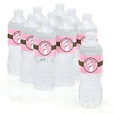 Mommy Silhouette It's A Girl - Personalized Baby Shower Water Bottle Sticker Labels - Set of 10