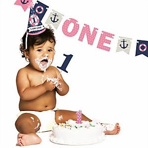 Ahoy - Nautical Girl - 1st Birthday Girl Smash Cake Kit - High Chair Decorations