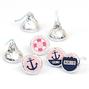 Ahoy - Nautical Girl - Party Favors Round Baby Shower Candy Labels - Fits Hershey's Kisses - 108 ct