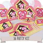 Girl Puppy Dog - 16 Person Baby Shower Kit