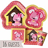 Girl Puppy Dog - Baby Shower Tableware Bundle for 16 Guests