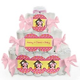 Girl Puppy Dog - 3 Tier Personalized Square Baby Shower Diaper Cake