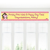Girl Puppy Dog - Personalized Baby Shower Banner