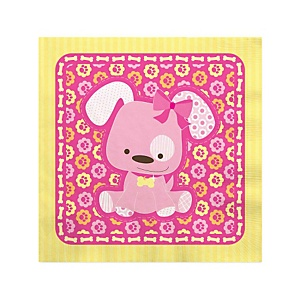 Girl Puppy Dog - Baby Shower Beverage Napkins - 16 Pack