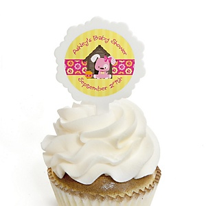 Girl Puppy Dog - 12 Cupcake Picks & 24 Personalized Stickers - Baby Shower Cupcake Toppers