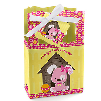 Girl Puppy Dog - Personalized Baby Shower Favor Boxes...