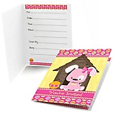 Girl Puppy Dog - Fill In Baby Shower Invitations - Set of  8