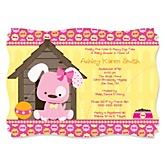 Girl Puppy Dog - Baby Shower Invitations