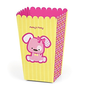 Girl Puppy Dog - Personalized Party Popcorn Favor Treat Boxes
