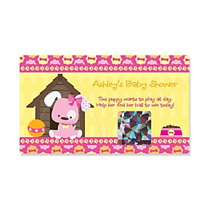 Girl Puppy Dog - Personalized Baby Shower Game Scratch Off Cards - 22 ct