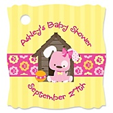 Girl Puppy Dog - Personalized Baby Shower Tags - 20 Count