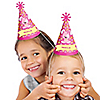 Girl Puppy Dog - Personalized Cone Birthday Party Hats - 8 ct