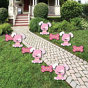 Girl Puppy Dog - Lawn Decorations - Outdoor Baby Shower or Birthday Party Yard Decorations - 10 Piece
