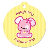 Girl Puppy Dog - Personalized Baby Shower Round Tags - 20 Count