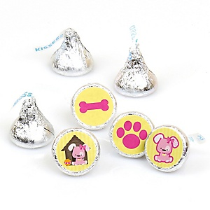 Girl Puppy Dog - Round Candy Labels Party Favors - Fits Hershey's Kisses - 108 ct