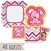 Girl Puppy Dog - Baby Shower Tableware Bundle for 48 Guests