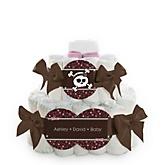 Skullicious™ - Baby Girl Skull - 2 Tier Personalized Square Baby Shower Diaper Cake