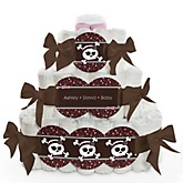 Skullicious™ - Baby Girl Skull - 3 Tier Personalized Square Baby Shower Diaper Cake