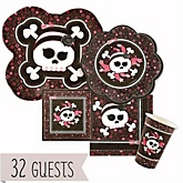 Skullicious™ - Baby Girl Skull - Baby Shower Tableware Bundle for 32 Guests