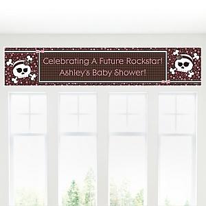 Skullicious™ - Baby Girl Skull - Personalized Baby Shower Banner
