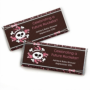 Skullicious™ - Baby Girl Skull - Personalized Baby Shower Candy Bar Wrapper Favors