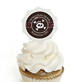 Skullicious™ - Baby Girl Skull - 12 Cupcake Picks & 24 Personalized Stickers - Baby Shower Cupcake Toppers