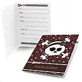 Skullicious™ - Baby Girl Skull - Baby Shower Fill In Invitations - 8 ct