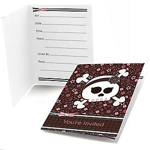 Skullicious™ - Baby Girl Skull - Fill In Baby Shower Invitations - Set of  8