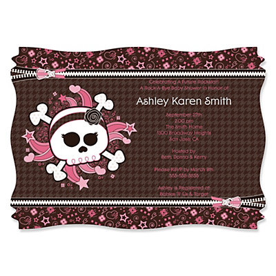 Skullicious™ - Baby Girl Skull - Personalized Baby Shower Invitations Baby Shower Party Supplies