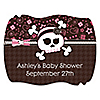 Skullicious™ - Baby Girl Skull - Personalized Baby Shower Squiggle Stickers - 16 ct