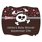 Skullicious™ - Baby Girl Skull - Personalized Baby Shower Squiggle Sticker Labels - 16 Count
