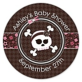 Skullicious™ - Baby Girl Skull - Personalized Baby Shower Round Sticker Labels - 24 Count