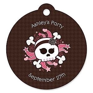 Skullicious™ - Baby Girl Skull - Personalized Baby Shower Round Tags - 20 Count