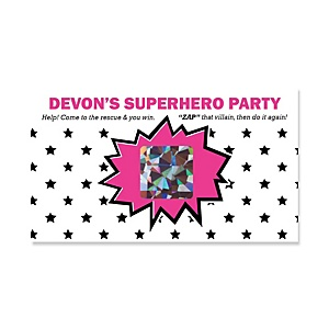 BAM! Girl Superhero - Personalized Party Game Scratch Off Cards - 22 ct