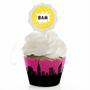 BAM! Girl Superhero - Party Cupcake Wrapper & Pick Party Kit - Set of 24