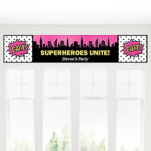 BAM! Girl Superhero - Personalized Baby Shower Banner