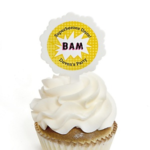 BAM! Girl Superhero - Personalized Party Cupcake Picks and Sticker Kit - 12 ct