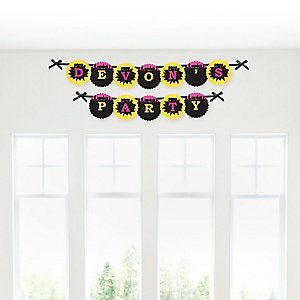 BAM! Girl Superhero - Personalized Party Garland Letter Banners