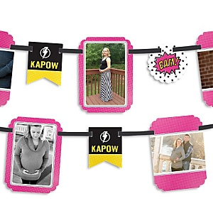 BAM! Girl Superhero - Baby Shower Photo Garland Banners