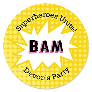 BAM! Superhero Girl - Personalized Baby Shower Round Sticker Labels - 24 Count