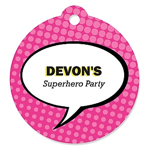 BAM! Girl Superhero - Round Personalized Party Tags - 20 ct