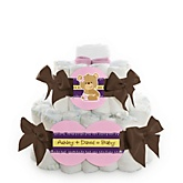Baby Girl Teddy Bear - 2 Tier Personalized Square Baby Shower Diaper Cake