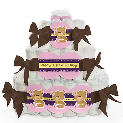 Baby Girl Teddy Bear - 3 Tier Personalized Square - Baby Shower Diaper Cake