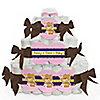 Baby Girl Teddy Bear - Personalized Baby Shower Square Diaper Cakes - 3 Tier