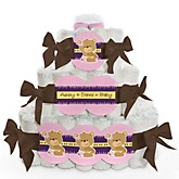 Baby Girl Teddy Bear - 3 Tier Personalized Square Baby Shower Diaper Cake