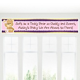 Baby Girl Teddy Bear - Personalized Baby Shower Banner
